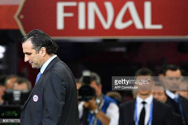 Chile's Spanish coach Juan Antonio Pizzi reacts after Chile's defeat at the 2017 Confederations Cup final football match between Chile and Germany at...