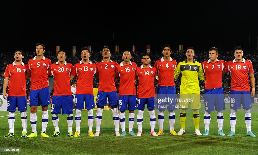 Chile's U-20 national team poses for photographers before their South American U-20 Championship Group A football match against Argentina at Malvinas Argentinas stadium in Mendoza, Argentina, on January 9, 2013. Four teams will qualify for the Turkey 2013 FIFA U-20 World Cup.