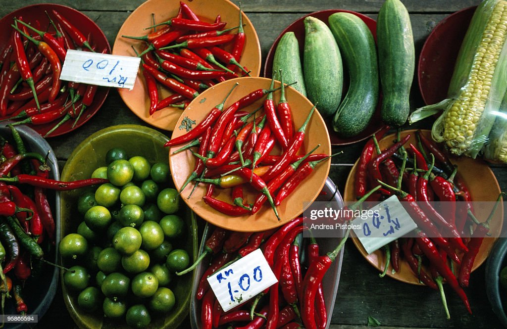 Chili and vegetables in Malaysian market : Stock Photo