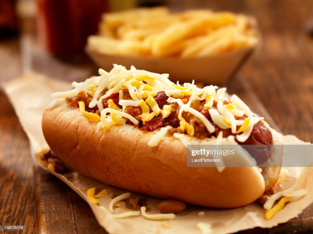 Chili Cheese Dog : Stock Photo