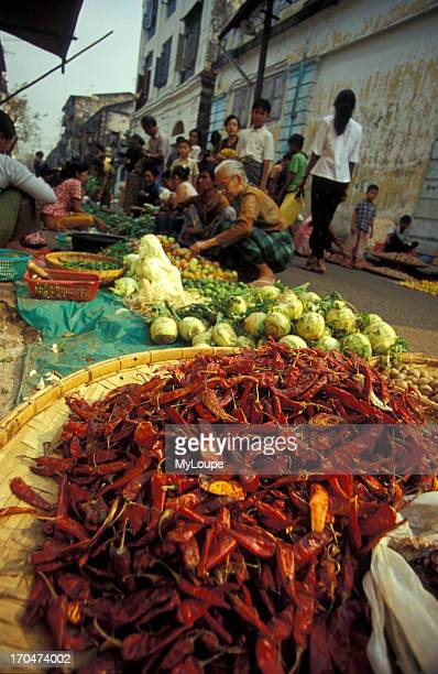 Chili Peppers at the Rangoon Vegetable Market