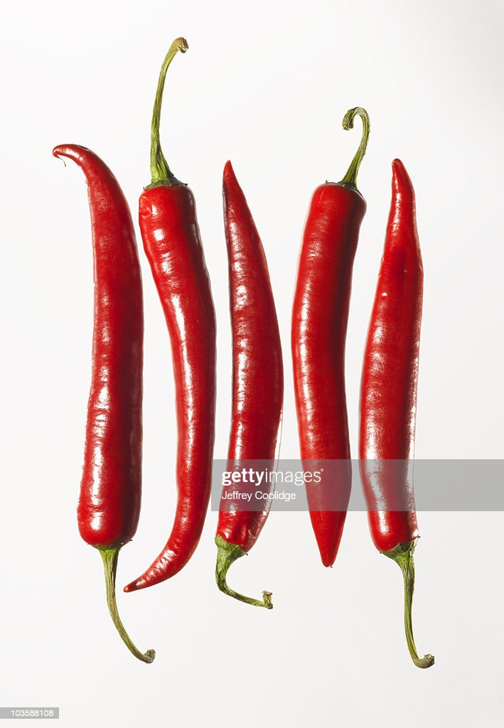 Chili Peppers in a Row : Stock Photo