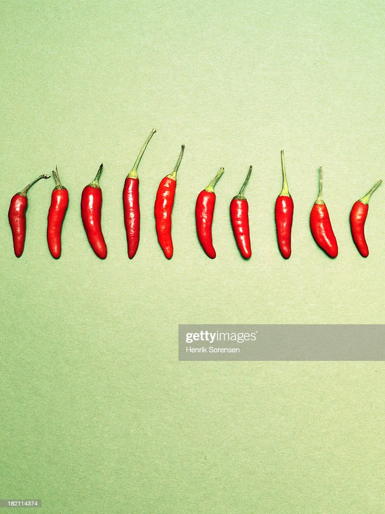 Chili peppers in a row