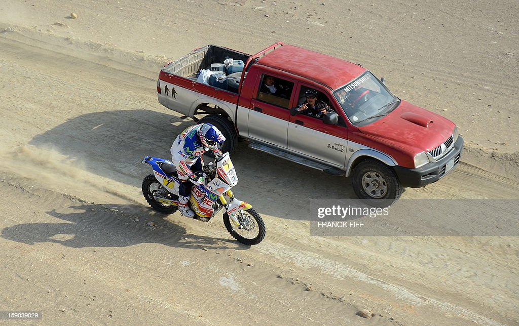 Chilia's Francisco Chaleco Lopez of Chile competes during the Stage 2 of the Dakar 2013 in Pisco, Peru, on January 6, 2013. The rally will take place in Peru, Argentina and Chile from January 5 to 20.
