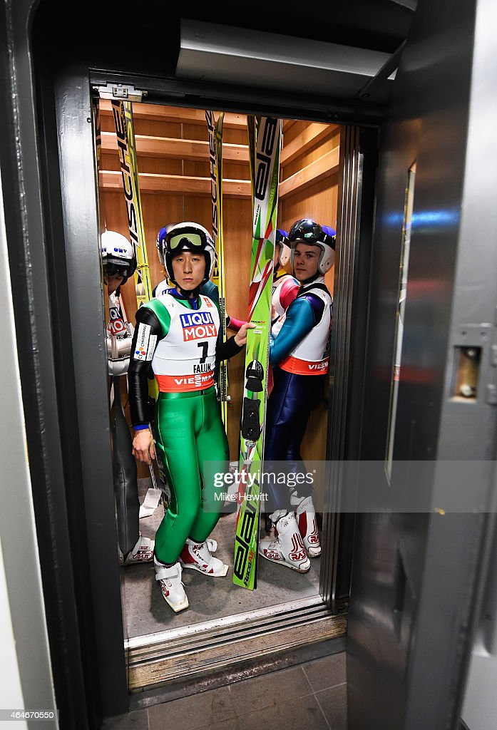 ChilKu Kang of South Korea looks on as he gets in to a lift for the Men's Large Hill Team Ski Jumping training during the FIS Nordic World Ski...