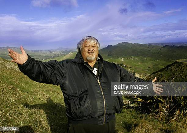 Chilled by a six degree C southerly wind New Zealand Maori Tribal elder Tony Mako celebrates a powhiri an ancient maori custom for welcoming...