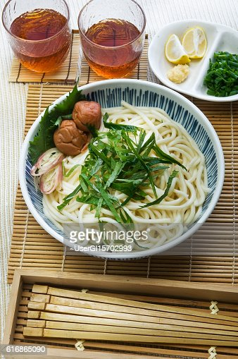 Chilled plum Udon : Stock Photo