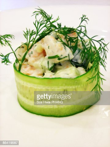 Chilled shrimp, avocado and cucumber salad