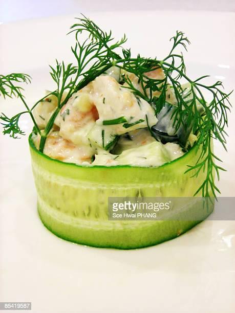 Chilled shrimp, avocado and cucumber salad