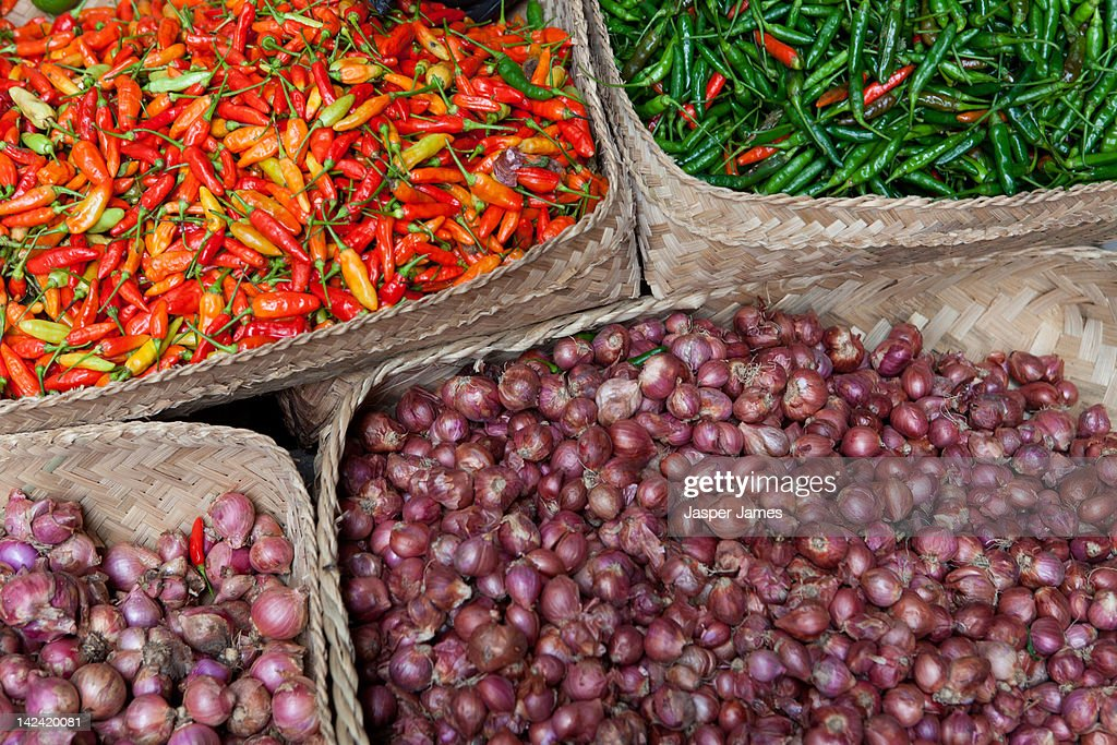chilli and garlic at street market in Ubud,Bali : Stock Photo