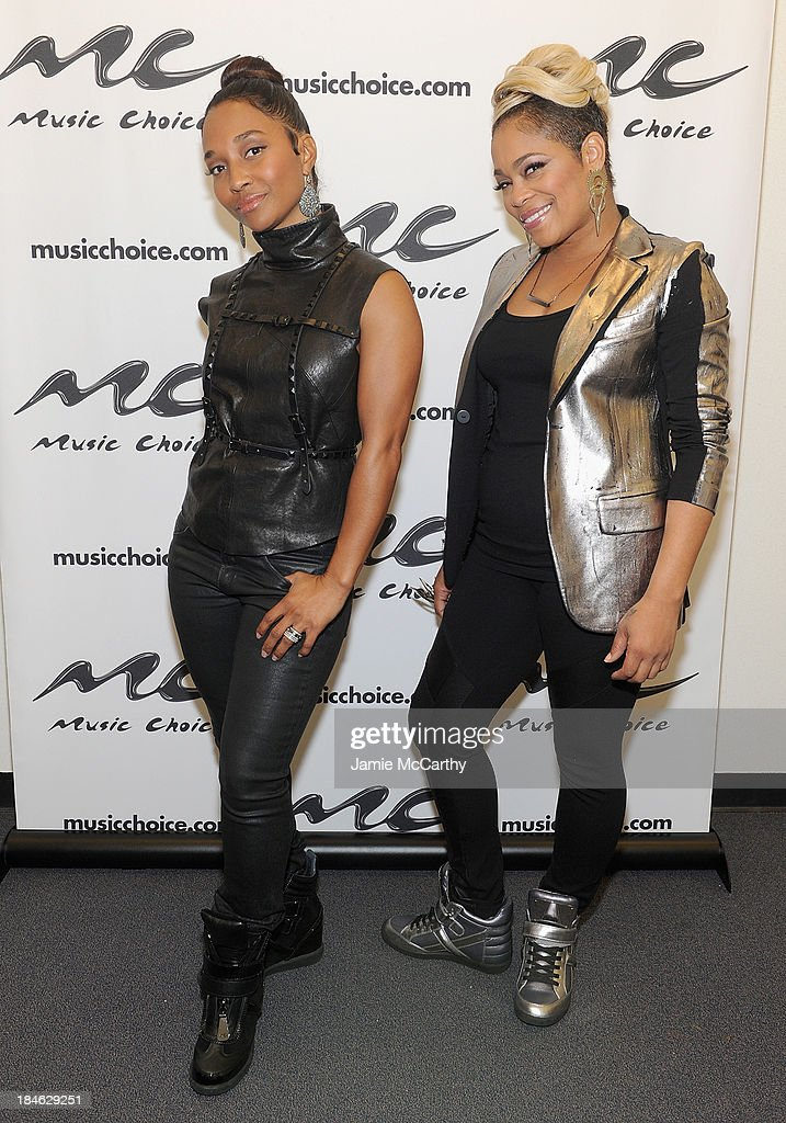Chilli and <a gi-track='captionPersonalityLinkClicked' href=/galleries/search?phrase=T-Boz&family=editorial&specificpeople=715877 ng-click='$event.stopPropagation()'>T-Boz</a> of TLC Stop By Music Choice's 'You & A' on October 14, 2013 in New York City.