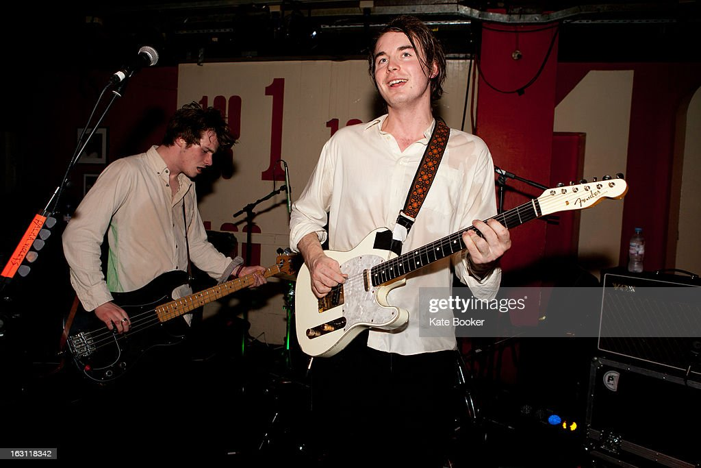Chilli Jesson and Sam Fryer of Palma Violets perform on stage at The 100 Club on March 4, 2013 in London, England.