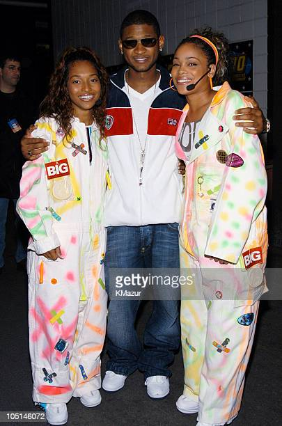 Chilli of TLC Usher and TBoz of TLC during Z100's Zootopia 2003 Backstage at Giants Stadium in East Rutherford New Jersey United States