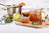 Chilli pepper apple jam with herbs
