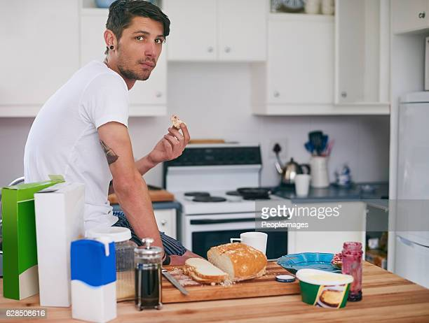 Chilling with a sandwich in the kitchen