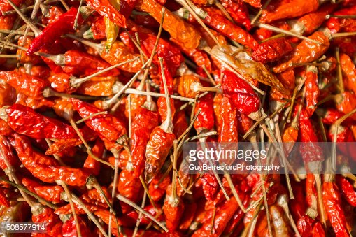 chilli's drying in the sun : Stockfoto