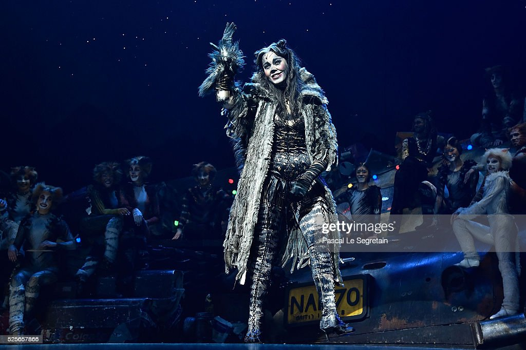 Chimene Badi is seen on stage during the Cats Premiere at Theatre Mogador on April 28, 2016 in Paris, France.