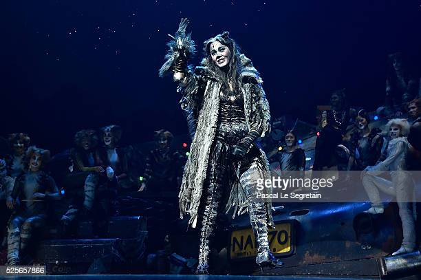 Chimene Badi is seen on stage during the Cats Premiere at Theatre Mogador on April 28 2016 in Paris France