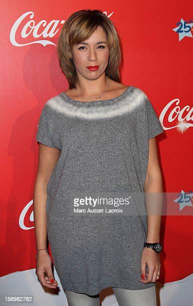 Chimene Badi poses at the Coca Cola Christmas windows inauguration at Le Showcase on November 26 2012 in Paris France