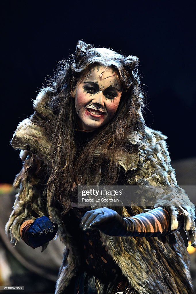 Chimene Badi poses on stage during the Cats Premiere at Theatre Mogador on April 28, 2016 in Paris, France.