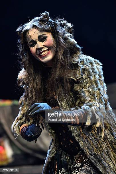 Chimene Badi poses on stage during the Cats Premiere at Theatre Mogador on April 28 2016 in Paris France