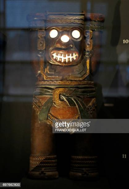 A chimney from the calco tile manufacturing is pictured during the exhibition 'The Aztec Hotel Mayan Revival style in America' on June 19 2017 at the...