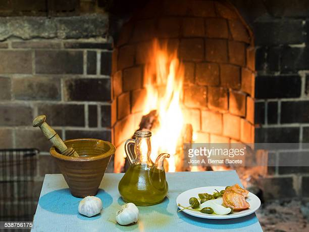 Chimney ignited in the kitchen and table with food