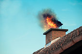 Chimney with fire coming out