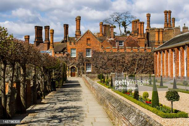Chimneys of Hampton Court Palace on April 15 2012 in London England United Kingdom