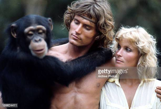 Chimpanzee Miles O'Keeffe and Bo Derek together in a scene from the film 'Tarzan The Ape Man' 1981