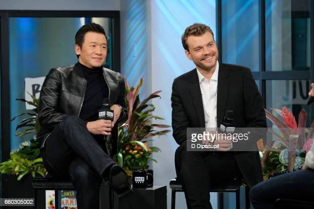 Chin Han and Pilou Asbaek attend the Build Series to discuss 'Ghost in the Shell' at Build Studio on March 29 2017 in New York City