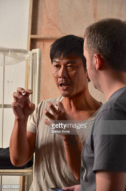 Chin Siuho being interviewed on the Hong Kong film set of Rigor Mortis a horror film about vampires The film is Juno Mak's directorial debut and is...