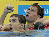 SHANGHAI China American swimmer Ryan Lochte clenches his fist after setting a new world record with 15400 in the men's 200meter individual medley...
