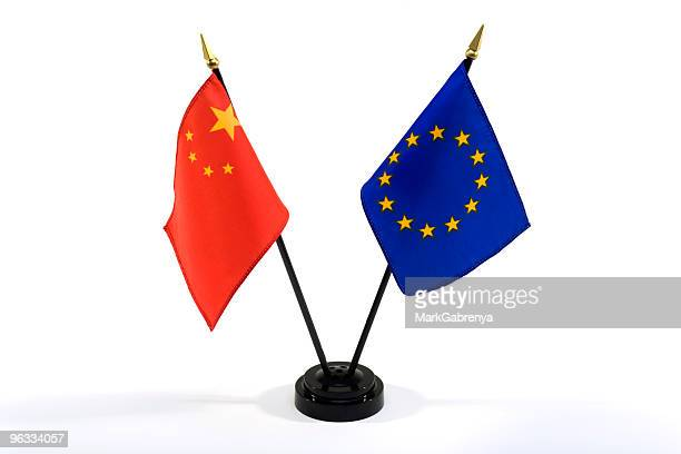 China and EU flags isolated