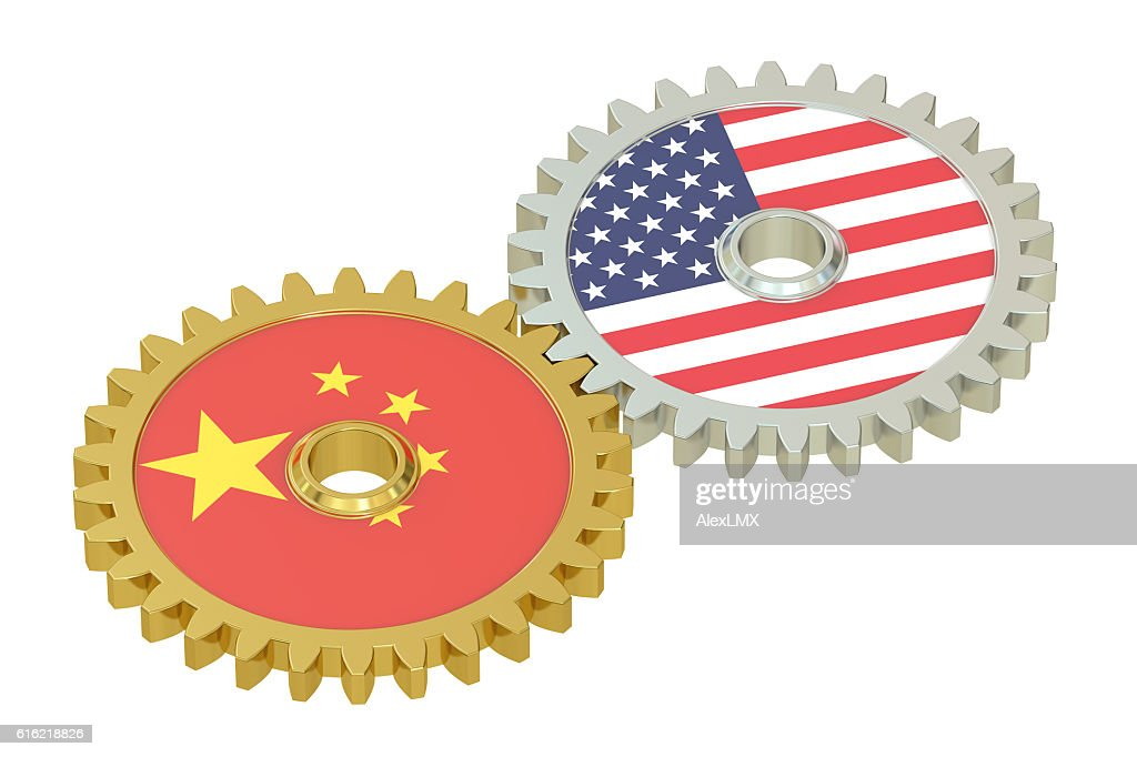China and United States relations concept, flags on a gears : Stock Photo