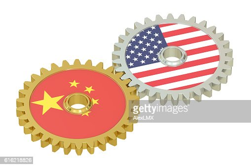 China and United States relations concept, flags on a gears : Stock-Foto