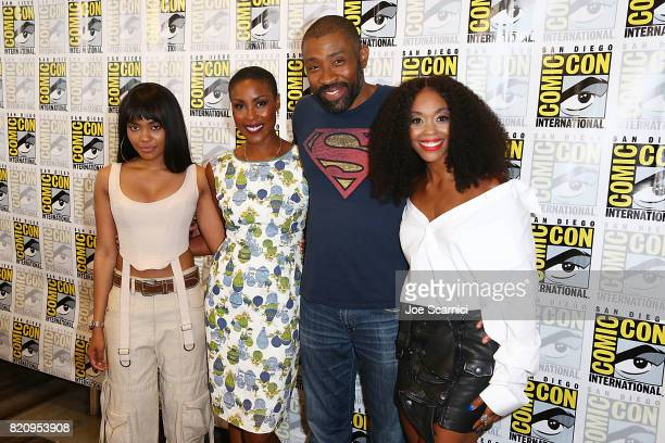 China Anne McClain Christine Adams Cress Williams and Nafessa Williams arrive at the 'Black Lightning' press line at ComicCon International 2017 on...