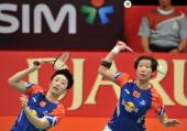 China badminton players Yu Yang and Wang Xiaoli return the shuttlecock against Ma Jin and Tang Jinhua from China at Senayan sport center during the...