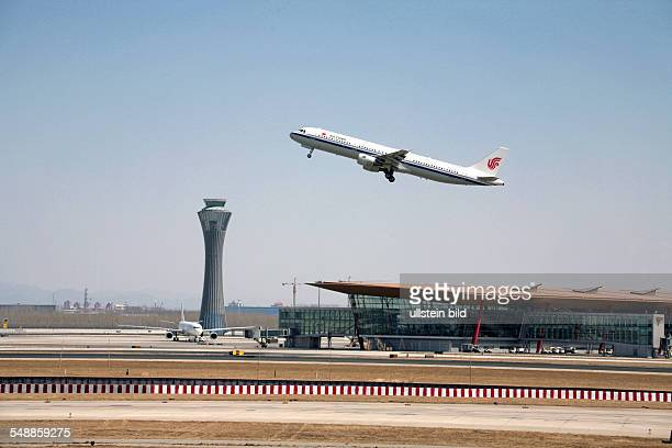 China Beijing Beijing Airport with plane