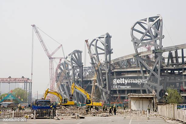 China, Beijing, Beijing Olympic stadium under construction