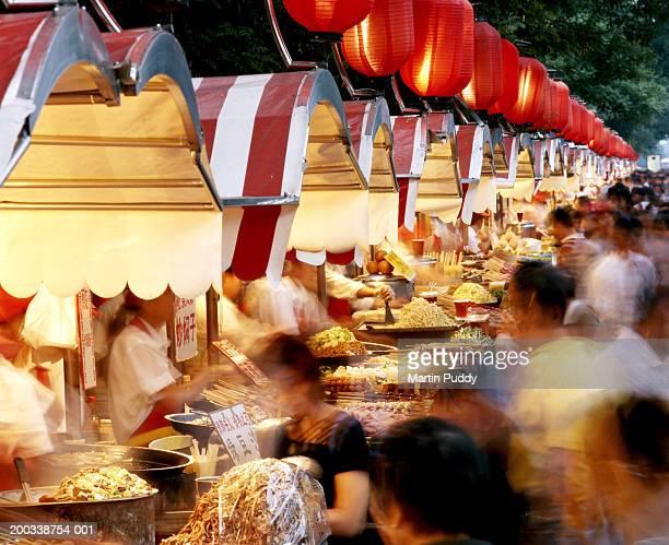China, Beijing, bustling customers in Donghuamen night market