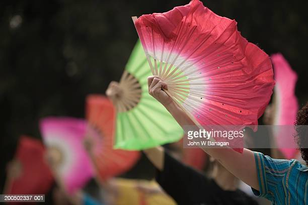 China, Beijing, Temple of Heaven, people exercising with fans