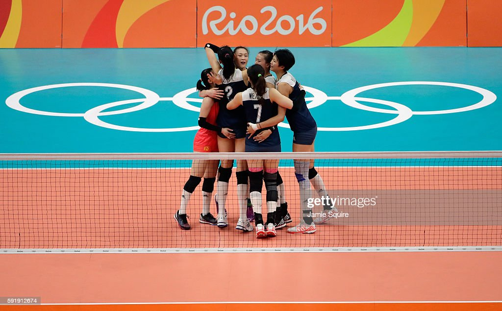 China celebrate a point against the Netherlands during the Women's Volleyball Semifinal match at the Maracanazinho on Day 13 of the 2016 Rio Olympic...