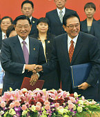 TIANJIN China Chen Yunlin chairman of China's Association for Relations Across the Taiwan Straits and Chiang Pinkung chairman of Taiwan's Straits...
