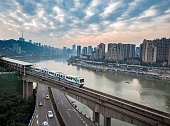 China Chongqing elevated light rail, modern city traffic perspective.
