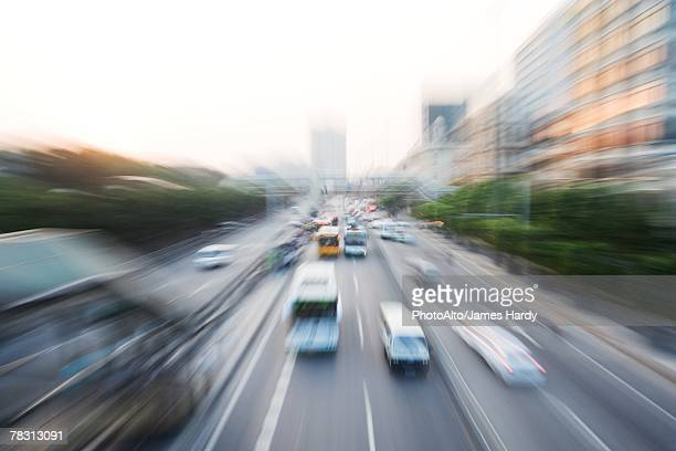 China, city thoroughfare, high angle view, blurred motion