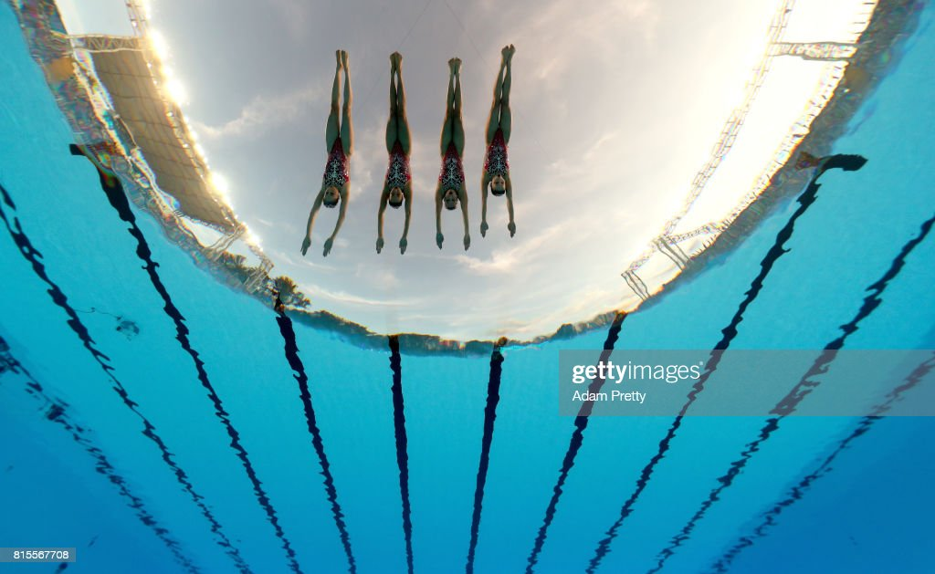 China compete during the Synchronised Swimming Team Technical, preliminary round on day three of the Budapest 2017 FINA World Championships on July 16, 2017 in Budapest, Hungary.