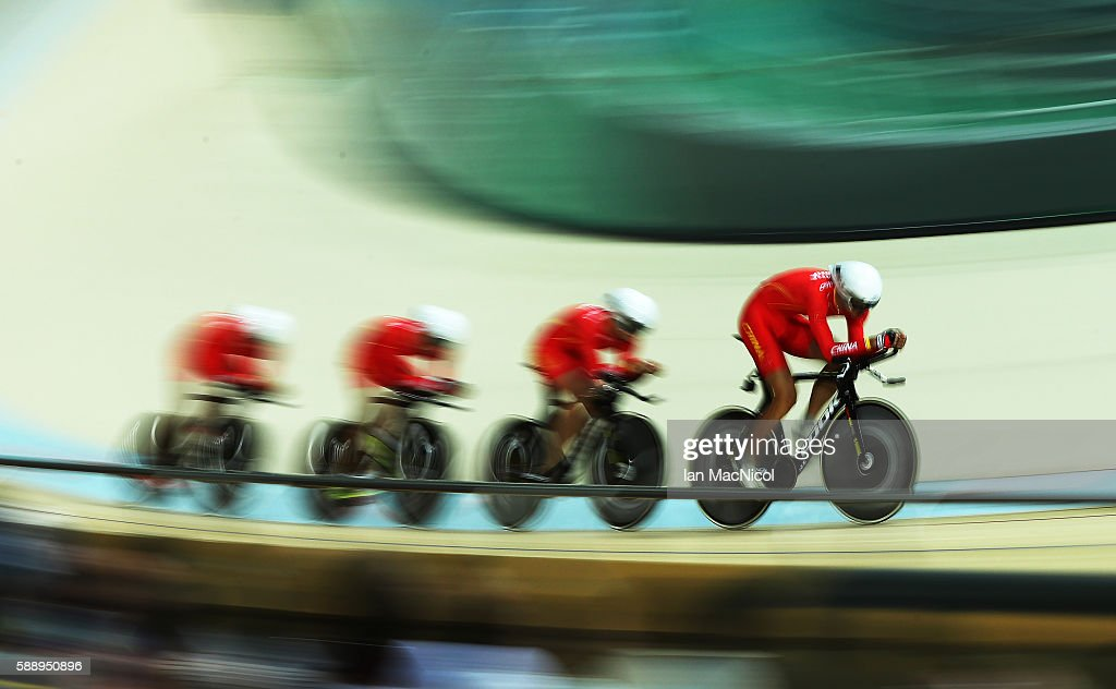 China compete in the Men's Team Pursuit Final on Day 7 of the Rio 2016 Olympic Games at Rio Olympic Velodrome on August 12, 2016 in Rio de Janeiro, Brazil.