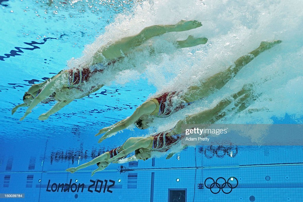 China compete in the Women's Teams Synchronised Swimming Technical Routine on Day 13 of the London 2012 Olympic Games at the Aquatics Centre on August 9, 2012 in London, England.