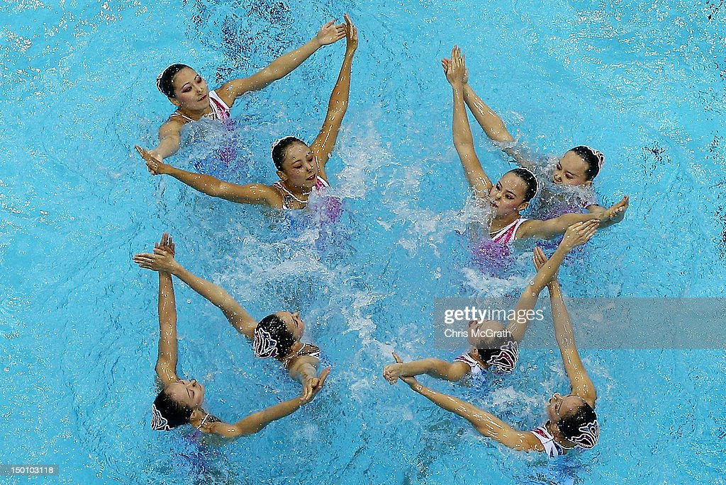 China competes in the Women's Teams Synchronised Swimming Free Routine final on Day 14 of the London 2012 Olympic Games at the Aquatics Centre on August 10, 2012 in London, England.